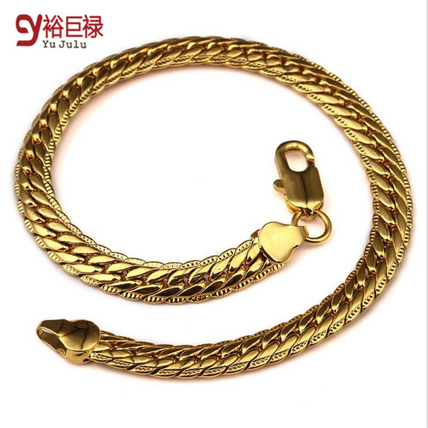 2016 New Arrival Statement Bracelet Unisex Hip Hop Jewelry Hot Models Lace Embossed Copper 18K Gold Plated Link Chain Bracelet for Men Women