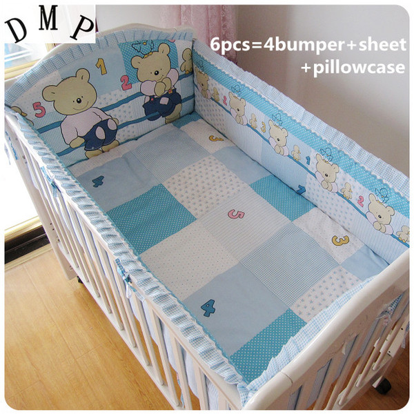 Promotion! 6PCS baby Crib bedding Set Baby Bumpers Sheet cribs for babies 100% cotton,include(4bumpers+sheet+pillowcase)