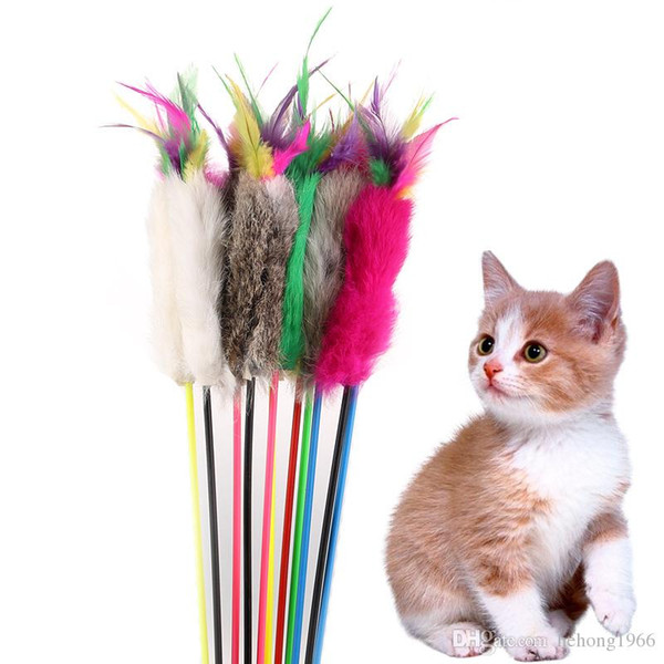 Cat Pole Toy Funny Wood Plush Plaything Practical Feather Catcher Multi Color Play Wand Pet Supplies 1 68yr H R