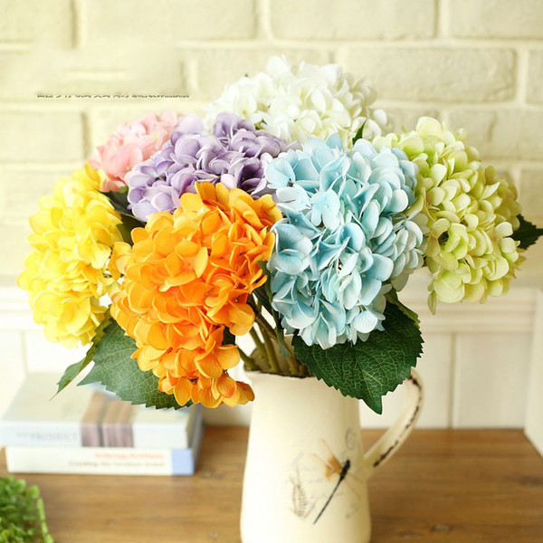 top popular 10pcs lot colorful wedding Simulation of hydrangea flower for display flower 47cm PU latex Decorative flowers&wreaths 2021