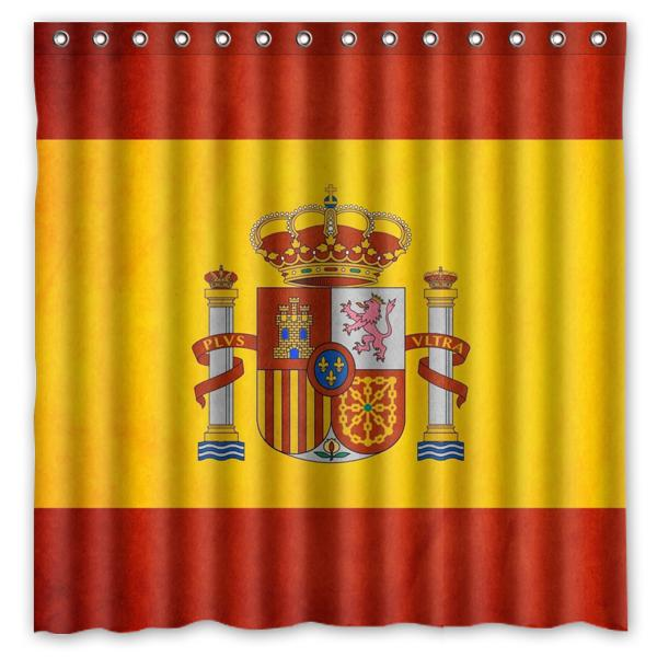Yellow Red Flag Spain Design Shower Curtain Size 180 X Cm Custom Waterproof Polyester Fabric