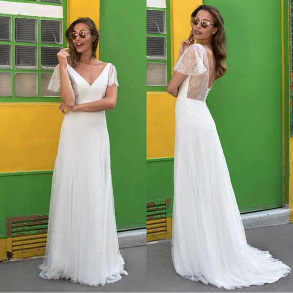 2018 Summer Cap Sleeves Sheer Lace Wedding Dresses V neck A line Backless With Covered Buttons Soft Bridal Dress For Beach Party