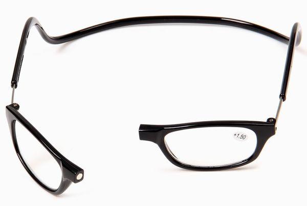 Venta al por mayor nueva llegada venta caliente gafas de lectura magnéticas negro marrón púrpura rojo gris Vision Care envío gratis