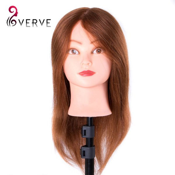 Real Human Hair Training Head For Salon Hairdressing Mannequin Dolls 46cm can be curled professional styling head with holder