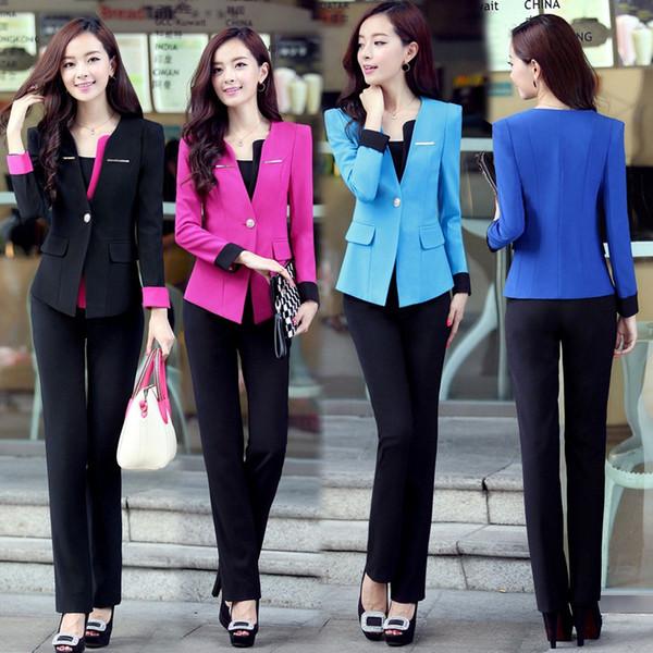 Al por mayor-3XL Tallas grandes del estilo del verano Mujeres Elegantes Pantalones Trajes Mujeres Trajes de Oficina Trajes de Oficina Formales Trabajo Blazer Feminino Traje de Traje
