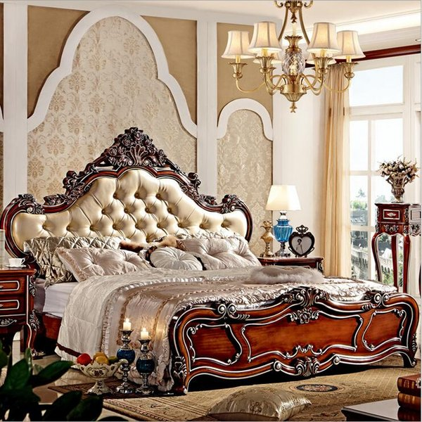 2019 Factory Price King Size Leather Modern European Solid Wood Bed Fashion  Carved 1.8 M Bed French Bedroom Furniture 10004 From Tengtank, $854.28 | ...