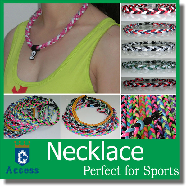 """best selling 2017 Titanium Sports USA Baseball Tornado Twister Braided 3 Rope Necklaces Fit for team color 16"""" 18"""" 20"""" 22"""""""
