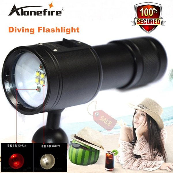 Alonefrie DV23 diving torch diving photography lights fill light red / white LED lighting high-power torch 26650 Fishing Flashlight.