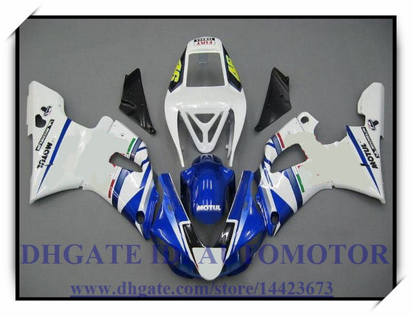 INJECTION BRAND NEW FAIRING KIT 100% FIT FOR YAMAHA YZF1000 YZF R1 1998-1999 YZFR1 1998 1999 YZF R1 98 99 #SO296 WHITE BLUE
