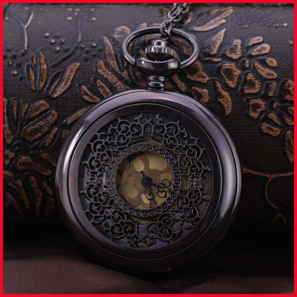 Antique Bronze Flower Patter Pocket Watches Necklaces Chain Flip Locket Quartz Watch Wall Clocks men women jewelry Christmas gift 230218