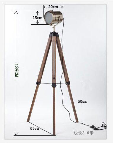 America Countryside Wooden Tripod/Triangle Lifting Adjustable Base Structure Metal Lamp Head SearchLights Floor Lights Lamp Indoor Lighting