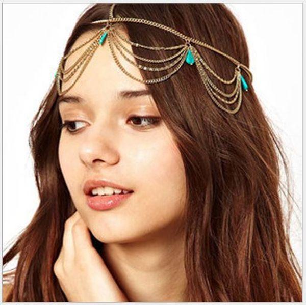 Banda de cabelo turquesa