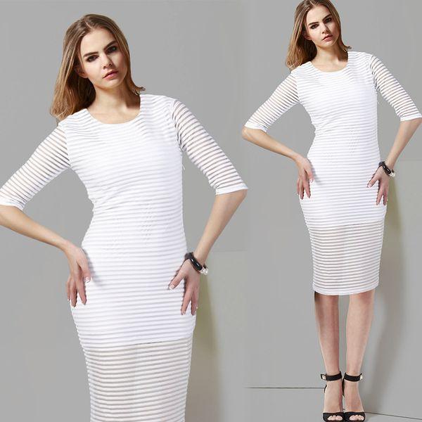 New Arrival Women Elegant Striped Dress Solid Color O-neck Half-sleeved Pencil Dress White Black Factory Direct Sale