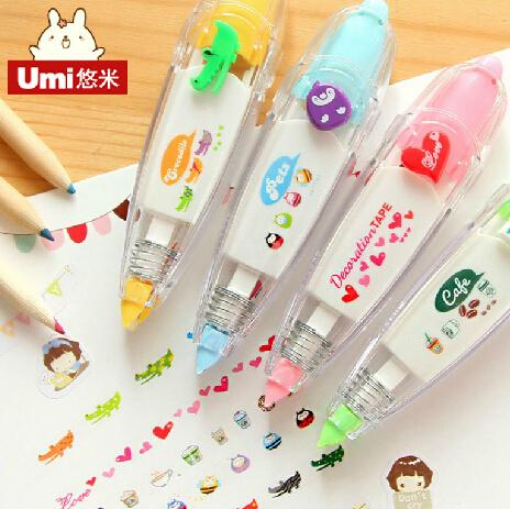 Wholesale-DIY Cute Cartoon Kawaii Colorful Correction Tape School Supplies Material For Kids Gift Korean Stationery Free shipping 851