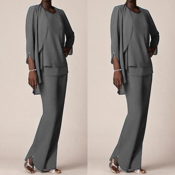 Grey Chiffon Formal Pant Suits For Mother Groom Dresses 2019 Evening Wear Long Mother of the Bride Dresses With Jackets Plus Size Custom