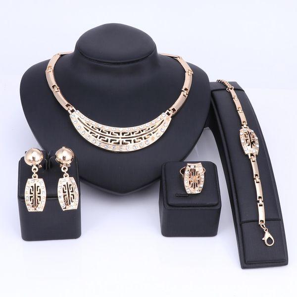 Vintage Schmuck Sets Gold Farbe Halskette Manschette Armband Ohrringe Ring Braut Hochzeit Schmuck Für Frauen Geschenk Retro Schmuck