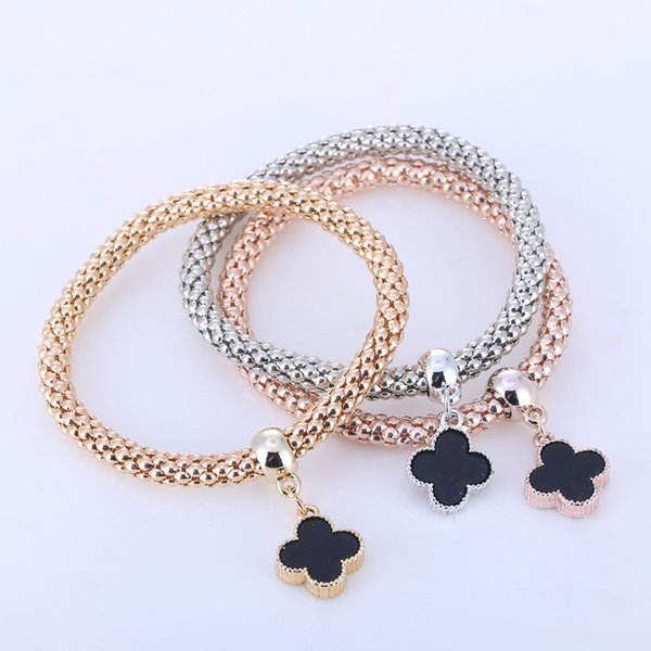 2016 hOT 3 PCS/Set Korea Clover Bracelet & Bangle Elastic Chain Bracelets For Women pulseira masculina