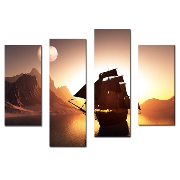 Amosi Art-4 Pieces Sailing Ship On Water And Around Mountain Wall Art Painting Picture On Canvas Print For Home Decor( Wooden Framed)