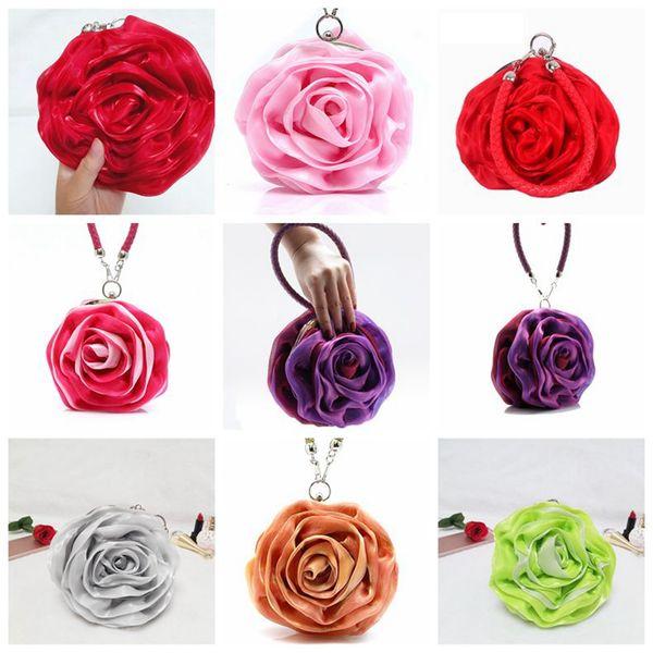 Süße 3D Rose Blume Handtaschen Seide Satins Plissee Floral Abendtaschen Frauen Mädchen Party Handtaschen Geldbörse Hochzeit Handtaschen 50pcs OOA3028