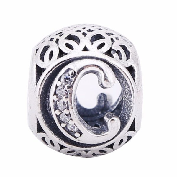 Europe Popular Authentic 925 Sterling Silver Letter C Beads Charms Fit Original Snake Chain Bracelet DIY Letter Silver Beads Jewelry Making
