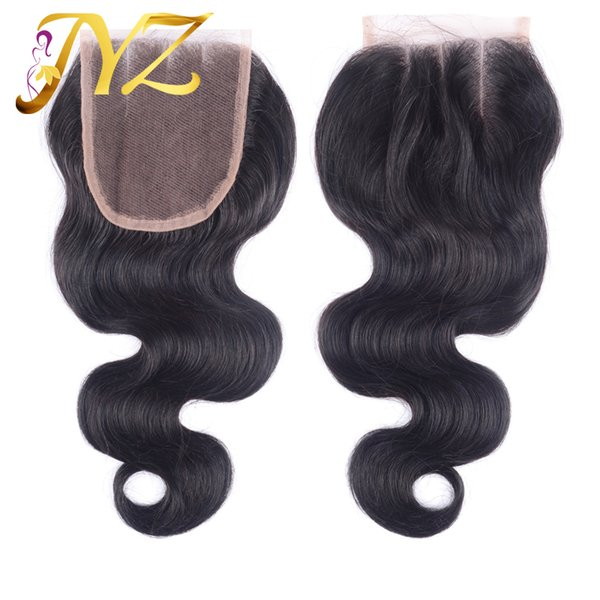 Top Quality Body Wave Swiss Lace Closure Brazilian Peruvian Indian Virgin Hair 4x4 Lace Closure Baby Hair Bleached Knots