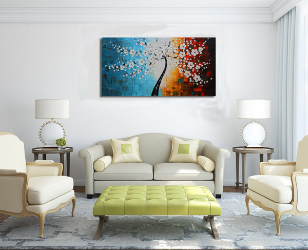 2018 Large Wall Art Home Decor White Life Tree Framed Canvas ...