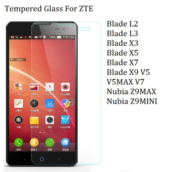 Wholesale-2016 Tempered Glass For ZTE Blade L2 L3 X3 Blade X5 Blade X7 Blade X9 V5 V5MAX V7 Nubia Z9MAX L3plus Screen Protector Case