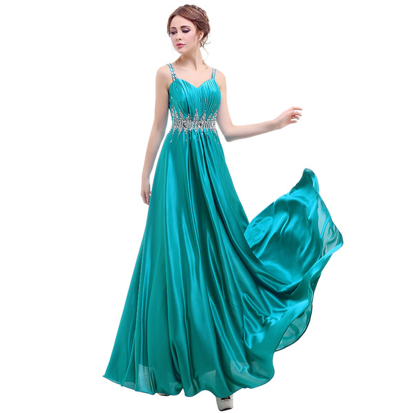 Cheap Spaghetti Strap Prom Dresses With Sash Sequins Crystals A Line Formal Cocktail Dress Free Shipping Evening Gowns For Party