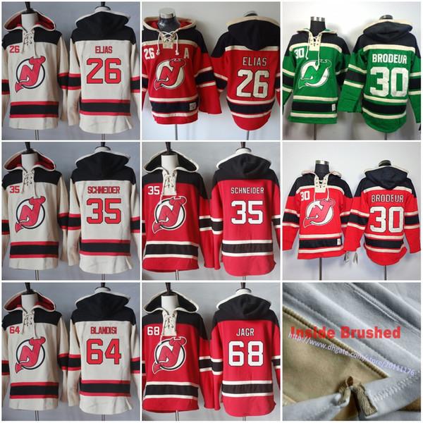 68 Jaromir Jagr 30 Martin Brodeur 35 Cory Schneider 64 Joseph Blandisi Mens New Jersey Devils Blank Hockey Hoodie Jersey Hoodies Sweatshirts