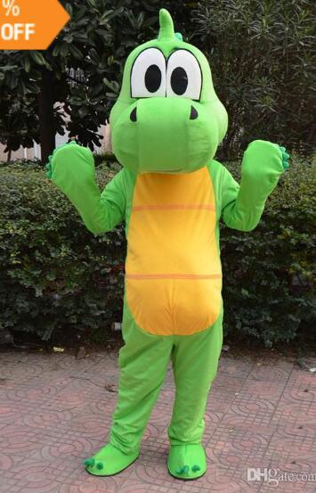 Professional high quality adult size Green dragon Dinosaur mascot costume suit fancy dress party Cosply costumes free shipping