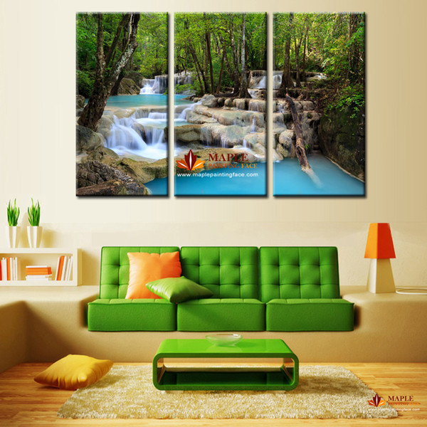 3 Panels Green Waterfall Scenery Canvas Print Painting Modern Canvas Wall Art for Wall Picture Home Decor Artwork -large canvas wall art
