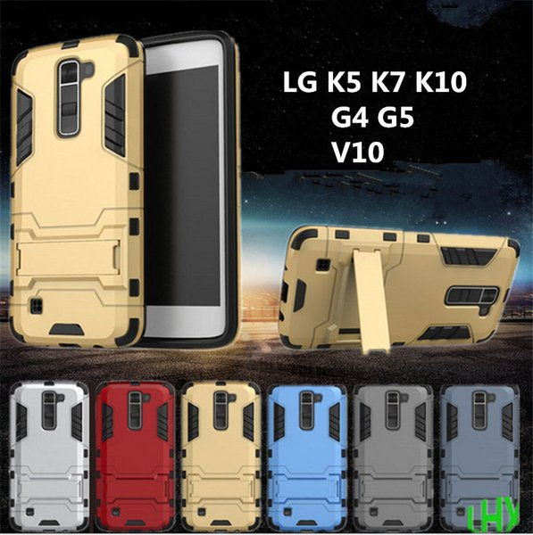 Slim armor case 4 IN 1 iron man shockproof kickstand tpu+pc back cover with stand holder for LG K5 k7 k10 g4 g5 v10 free DHL 50pcs