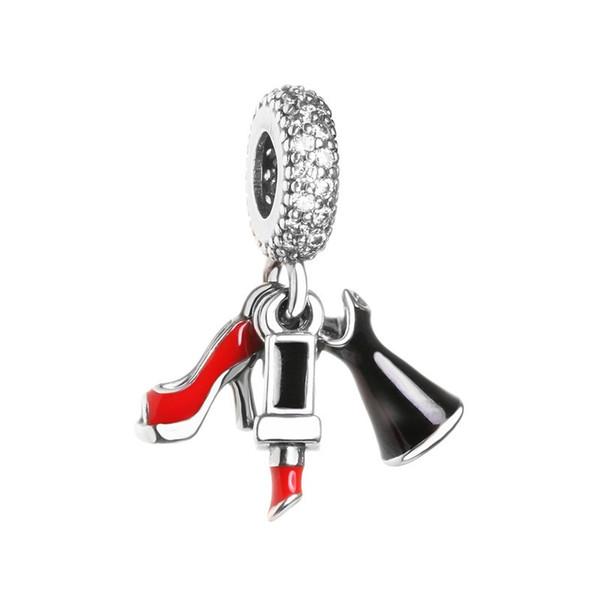 Nuevo Auténtico 925 Sterling Silver Lipstick High-heels Colgante Con Cuentas de Cristal Fit Marca Europea Pulseras Brazaletes Joyería