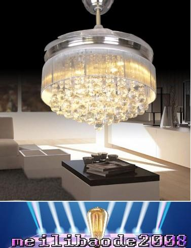 top popular Led Ceiling Fans Light 110-240V Invisible Blades Ceiling Fans Modern Fan Lamp Living Room European Chandelier Ceiling Light 36   42 Inche MY 2021