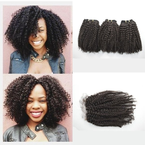 G-EASY Virgin afro kinky curly malaysian human hair weave bundles 3 pcs with 1pc lace closure bleached knots with baby hair