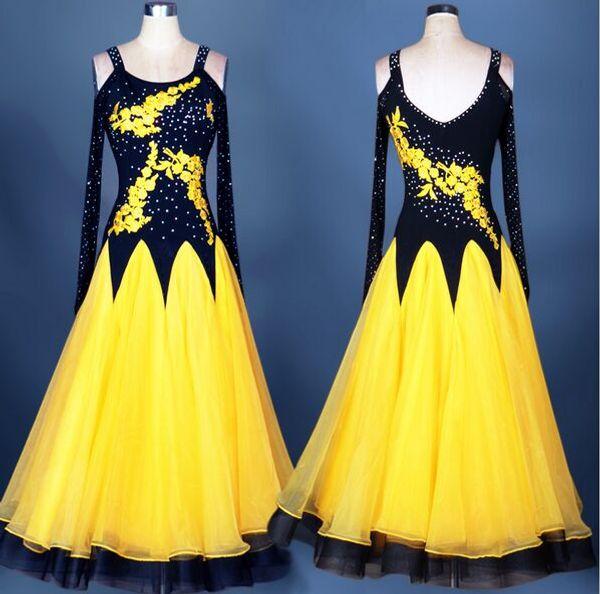 2018 High Quality Custom Made Ballroom Dance Dress Black/White/Rose/Red/Blue Lady Dress Ballroom Standard Dance Women Viennese Waltz Dress