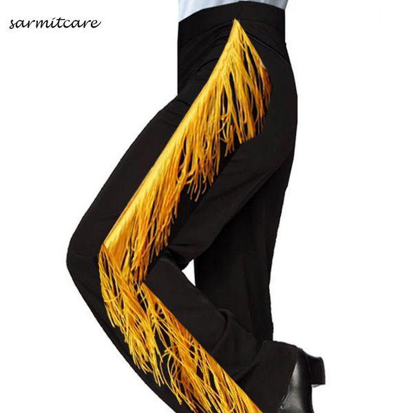 D096- Black White Color Male Latin Dance Pants for Men with Yellow Tassel Samba Dance Costumes Tango Samba Costume Dance Clothes Latin Pants