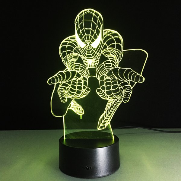 Spiderman Attact Style 3D Optical Illusion Lamp Night Light DC 5V USB Charging 5th Battery Wholesale Dropshipping Free Shipping