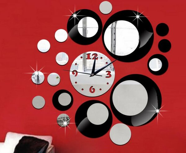 Mirror Wall Clock diy mirror wall clock bell circle composition decorative acrylic