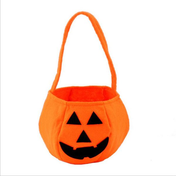 Pumpkin Bag Halloween Prop Stereo Hand Basket Goody Bag With Smile Face For Children or Adult Cosplay and Decoration