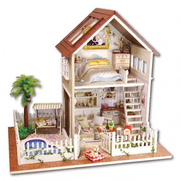 2016 New Wooden Dollhouse Furniture Kids Toys Handmade Gift Diy Doll House Kits With Led Stuff