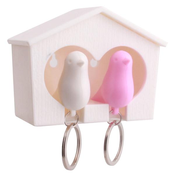 Gros-1set Nouveau Key Chain Lover Sparrow Birdhouse Porte-clés Maison Crochet Oiseau Nid Titulaire Porte-clés Cadeau 9.4 * 4.4 * 6.4 cm DP874233