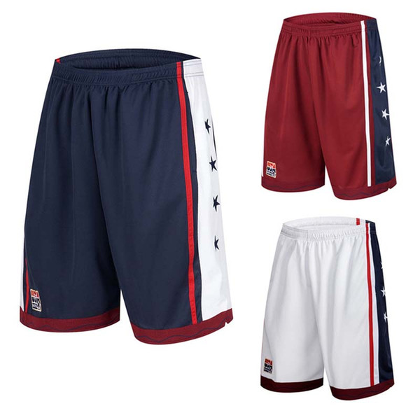 02958caaff90 Wholesale-NEW 2016 Summer Outdoor USA Team Basketball Shorts Male Athletic  Gym Sport Running Knee Length elastic loose Plus size M-3XL HOT