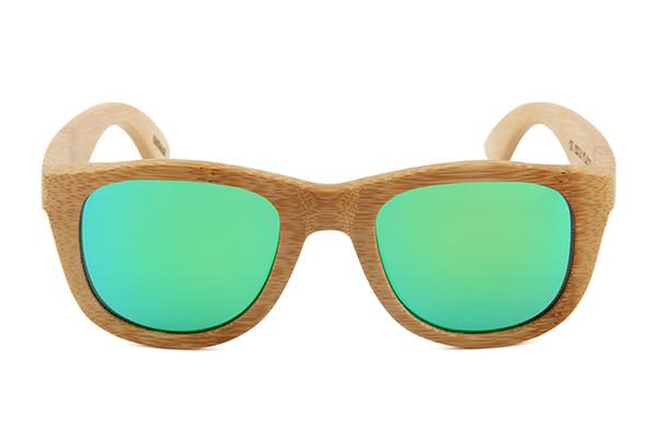 Popolari giovani incidono logo riciclato bambu verde lente a mano 2017 trendy bambù sport occhiali da sole ragazza