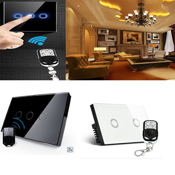 US/AU Standard, Black&White Pearl Crystal Glass Panel Wireless Remote Touch Screen Light Switch With Mini Remote