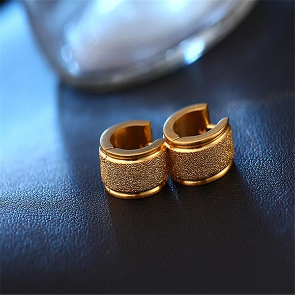 Punk Jewelry New Fashion Silver Gold Earrings Stainless Steel Grinding Hoop Earring For Women Men 3 Colors HZ