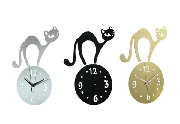 best selling Background wall stickers living room bedroom children's room wall clock clock cartoon cat Mirror Wall Stickers Clock