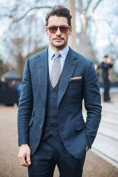 2018 Custom Made Dark Blue Handsome Mens Suit Groom Suit Wedding Suits For Best Men Slim Fit Groom Tuxedos For Man(Jacket+Vest+Pants