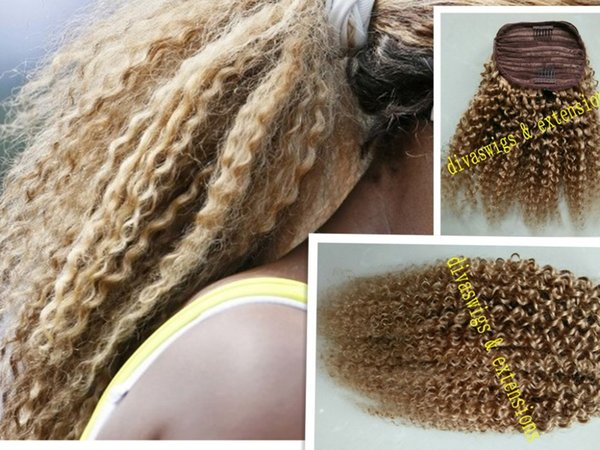 Virgin blond kinky curly drawstring ponytail hair extension clip in honey blonde #27 drawstring curly hairpiece 14inch 140g free ship