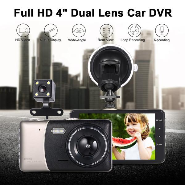 """2017 New 4""""Dual Lens Car DVR Camera Recorder Dash Cam Camcorder Car DVR with Two Cameras Blackbox Dash Cam Night Vision DashCam"""